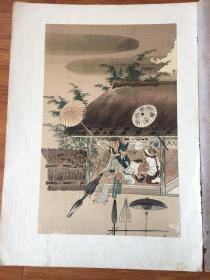 ※浮世绘※藤原隆兼※《伞师图》※稀少※近百年※高级套色木刻版画※