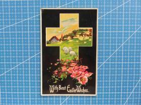 {会山书院}61#美国1911年4月14日(十字架羊群)贴邮票实寄明信片-收藏集邮-复古手账-外国邮政彩色明信片