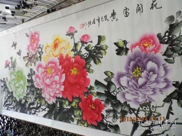 超大型纸质字画半手绘已经装裱长1.7米宽0.7米