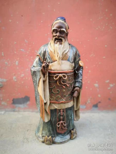 民国时期紫砂挂釉孔子神像,开脸细腻尺寸大,保存完好
