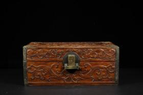 明代 黄花梨雕螭龙纹满工盖盒