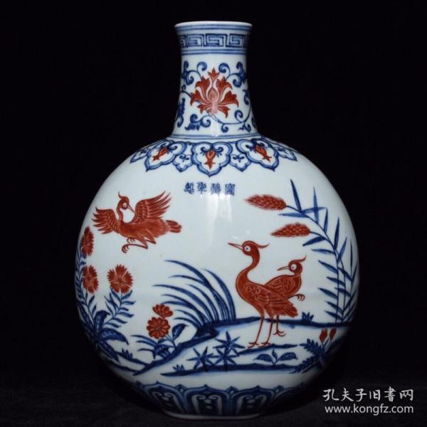 明宣德青花矾红花鸟纹扁瓶3