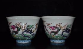 清雍正珐琅彩五龙纹杯子