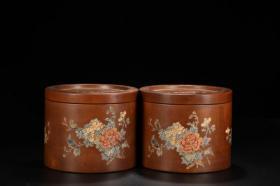 旧藏 老紫砂绘花卉纹蛐蛐罐一对