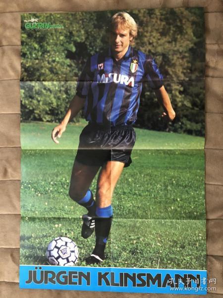 原版足球海报  克林斯曼 意甲8大球星 大开双面海报