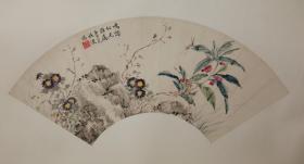 民国陈摩的弟子:施谡(松涛)扇面+新裱+与吴湖帆书法扇面为同一上款
