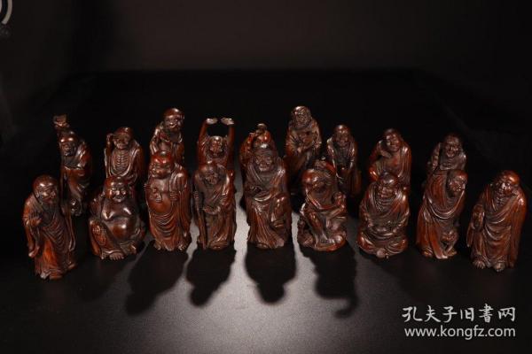 清代,竹雕十八罗汉立像