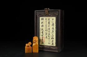 寿山田黄冻石雕古兽钮印章