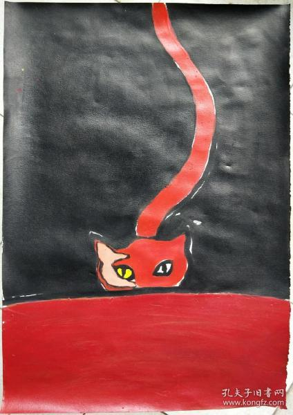 青年书画家胡子绘画作品:《灵猫》彩墨灵动,典雅自然;低价惠友,物美价廉。