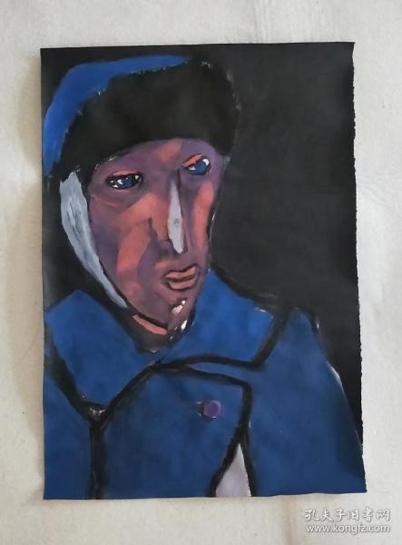 青年书画家胡子绘画作品:《他比梵高寂寞》彩墨厚重,典雅自然;低价惠友,物美价廉。