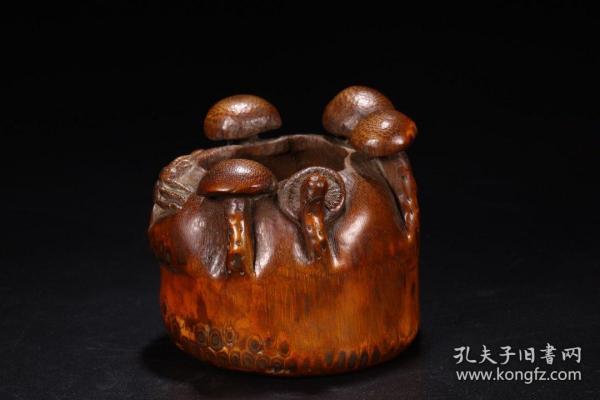 清:老竹雕蘑菇水洗