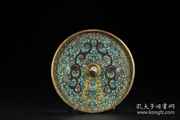 清 乾隆 铜胎景泰蓝夔龙花卉纹铜镜