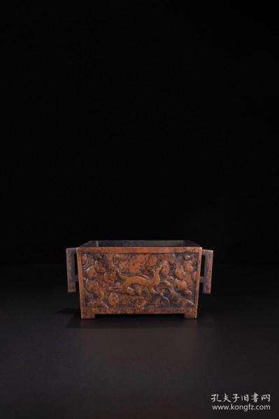 【旧藏,铜制「海水走兽纹」马槽炉
