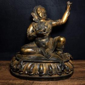 纯铜指天莲花座佛像