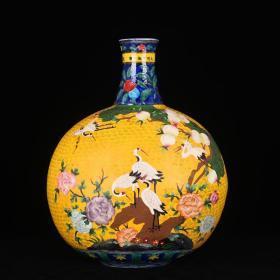 明宣德瓷胎掐丝珐琅彩福寿鹤纹扁瓶
