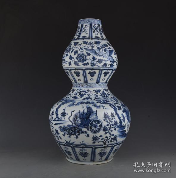 元青花鬼谷子下山纹葫芦瓶2