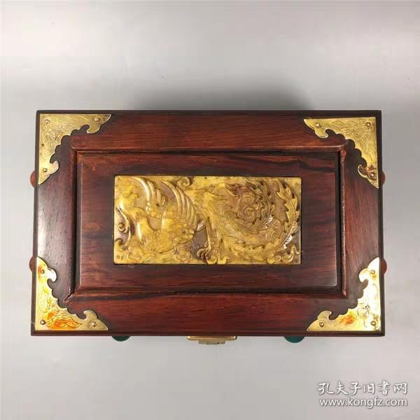 红木镶凤凰密码锁宝石盒