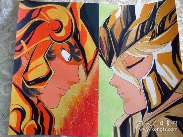 圣斗士星矢狮子座艾欧里亚VS室女座沙加手绘水彩