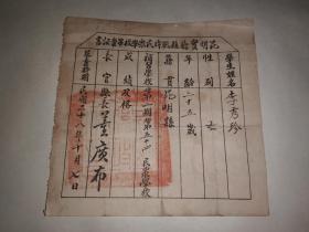 民国二十八年昆明实验县战时民众学校毕业证书(昆明县县长董广布)