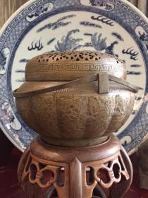 清代十六棱满工錾刻铜手炉
