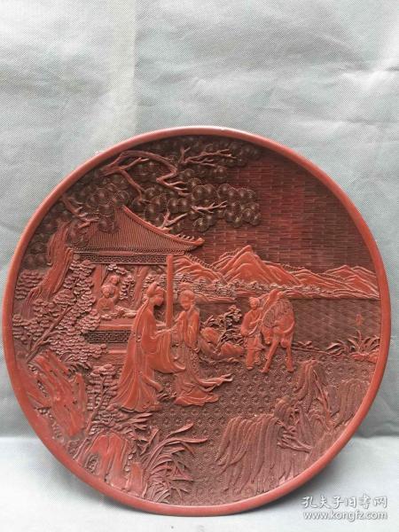 清代漆器浮雕盘子摆件