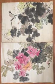 著名画家陈承基花鸟画 2幅一起得来 一幅有款一幅无款 注意看后面12张图显示虫蛀现象 不单卖