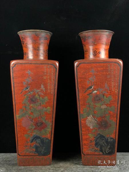 老胎漆器花瓶一对 夹纻胎漆器花瓶