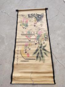 名人字画;仿古字画九美图{大千款}130厘米*63厘米卷轴装裱