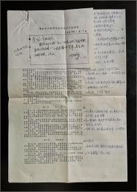 北京市侨联原主席纪辉玉签批 北京侨联办公室主任陈佩康 1989年呈报 公文批办单一页,《全国归国华侨联合会章程(修改稿)》两页
