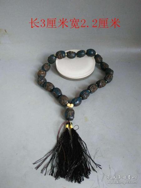 少见清代传世老琥珀雕18罗汉佛珠链.