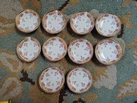 70年代景德镇老厂货瓷器手绘粉彩长命百岁小碟子 共10个一套难得,通走