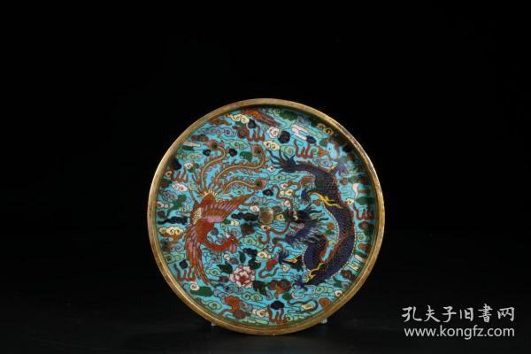 """清 乾隆 铜胎景泰蓝""""龙凤呈祥""""铜镜"""