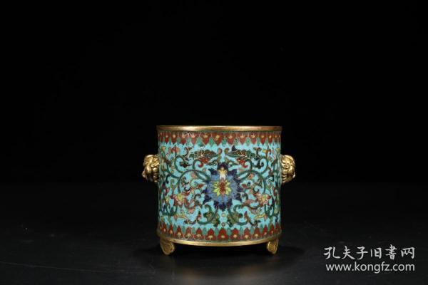 清 乾隆 铜胎景泰蓝花卉狮耳炉