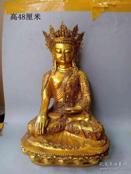 传世少见的明代鎏金老铜佛像     .