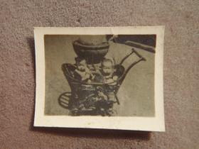 民国时期 小竹车两个儿童老照片 老相片收藏