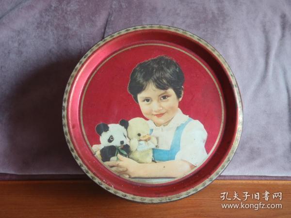 70年代 经典女孩抱熊猫玩具图案铁皮饼干桶 老糖罐 老铁皮罐收藏