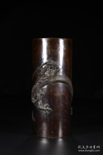 旧藏铜錾刻盘龙纹帽筒