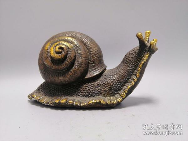 古玩铜器收藏,鎏金蜗牛 寓意我牛