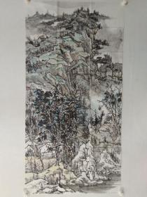 保真,兖州画家徐晓金四尺整纸山水画一幅136×69cm,