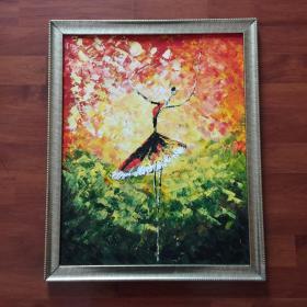 巴蕾舞单人舞蹈手绘抽象油画家居走廊过道玄关新居入伙挂画送画框包邮