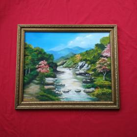 手绘油画树林小溪风景画山水画家居房间新居入伙走廊过道玄关挂画包邮