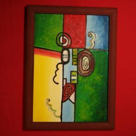 手绘油画意景抽象设计画家居房间餐厅装饰装修新居入伙挂画送画框包邮