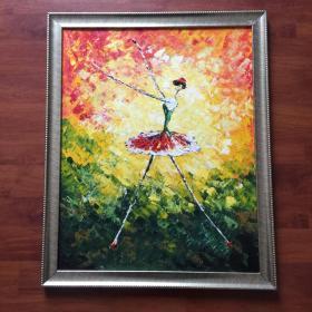 巴蕾舞单人跳舞蹈手绘抽象油画家居走廊过道玄关新居入伙挂画送框包邮