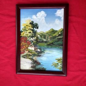 手绘油画湖边小屋风景画山水画家居房间餐厅装饰装修新居入伙挂画送画框包邮