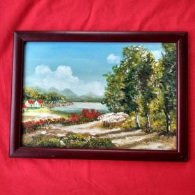 手绘油画乡村风景画山水画家居房间餐厅装饰装修新居入伙挂画送画框包邮