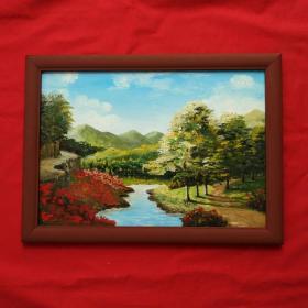手绘油画红杜鹃风景画山水画家居房间餐厅装饰装修新居入伙挂画送画框包邮