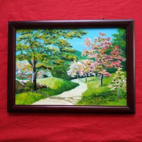 手绘油画公园小景画风景山水画家居房间装饰装修新居入伙挂画送画框包邮