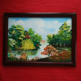 手绘油画树木风景抽象画风景画山水画装饰装修新居入伙挂画送画框包邮