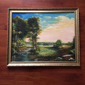 手绘油画郊外小溪自然风景画山水画家居新居入伙走廊过道玄关挂画包邮