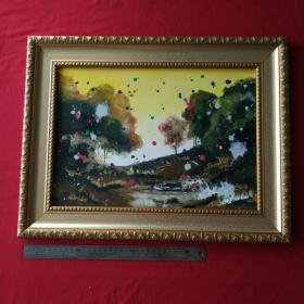 手绘油画晨光影小溪抽象画风景画山水画装饰装修新居入伙挂画送框包邮